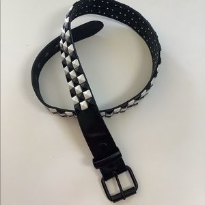 Checkered black and white leather belt